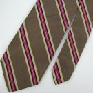 Vintage Brooks Brothers 60s 70s Stripe Silk Tan Pink Mens Neck Tie Necktie #EV