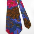#1A THE LIMITED FLORAL UNISEX WOMAN/MAN INDIGO BROWN Silk Men Neck Tie Necktie