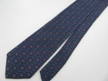 #1A Vintage Narrow Guy Laroche USA Floral Maroon SeaBlue  Silk Necktie Neck Tie