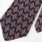 J Blades & Co Diamond Maroon Gray Silk Mens Dress Neck tie Men Designer Tie EUC
