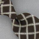 Vtg Christian Dior Square Check Brn White Texture 60s 70s Mens Neck Tie #V-4 EVC