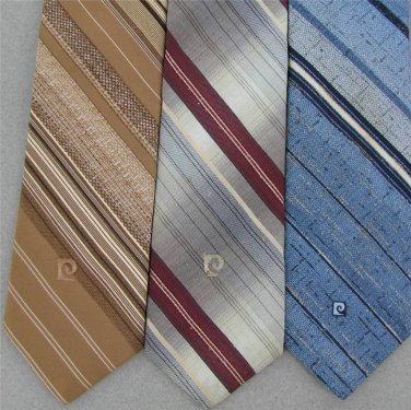 Vtg 3 Pierre Cardin Sky Blue Brn Gray Logo Stripe Narrow Skinny 70s Neck Tie Lot