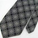 Vtg Wemlon Wembley 60s Wide 1970 Vivid Art Nouveau Black Silver Men Neck Tie #VE