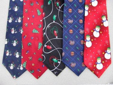 7 Christmas Xmas Holiday Silk Men's Ties Necktie Neck Tie Lot #P7A Excellent