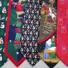 7 Christmas Xmas Holiday Silk Men's Ties Necktie Neck Tie Lot #P3 Excellent