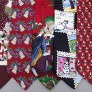 7 Christmas Xmas Holiday Silk Men's Ties Necktie Neck Tie Lot #P4A Excellent
