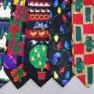 7 Christmas Xmas Holiday Silk Men's Ties Necktie Neck Tie Lot #P17G Excellent