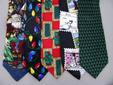 7 Christmas Xmas Holiday Silk Men's Ties Necktie Neck Tie Lot #P15U Excellent