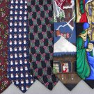 7 Christmas Xmas Holiday Silk Men's Ties Necktie Neck Tie Lot #P13J Excellent
