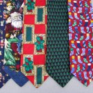 5 Christmas Xmas Holiday Silk Men's Ties Necktie Neck Tie Lot #P14Y Excellent