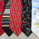 7 Christmas Xmas Holiday Silk Men's Ties Necktie Neck Tie Lot #P8F Excellent