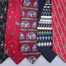 7 Christmas Xmas Holiday Silk Men's Ties Necktie Neck Tie Lot #P10F Excellent