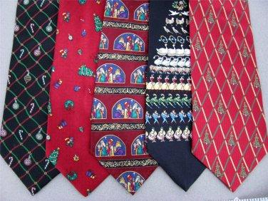 7 Christmas Xmas Holiday Silk Men's Ties Necktie Neck Tie Lot #P10F Excellent