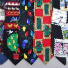 7 Christmas Xmas Holiday Silk Men's Ties Necktie Neck Tie Lot #P16Y Excellent