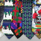 7 Christmas Xmas Holiday Silk Men's Ties Necktie Neck Tie Lot #P19G Excellent