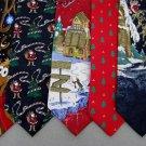 7 Christmas Xmas Holiday Silk Men's Ties Necktie Neck Tie Lot #P12H Excellent