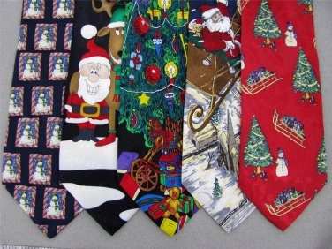 2 Christmas Xmas Holiday Silk Men's Ties Necktie Neck Tie Lot #LO24