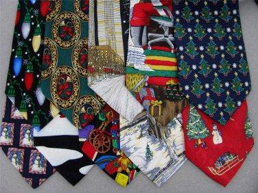7 Christmas Xmas Holiday Silk Men's Ties Necktie Neck Tie Lot #P22P Excellent