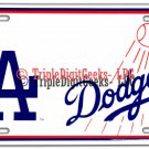 Officially Licensed LA Dodgers White License Plate