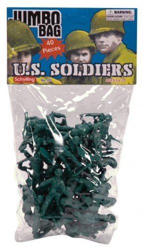 Bag of Green Army Men Toy Soldiers