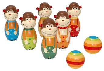 WOODEN MONKEY BOWLING SET