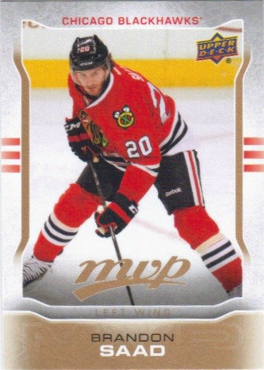 Brandon Saad 2014-15 Upper Deck MVP #72 Chicago Blackhawks Hockey Card