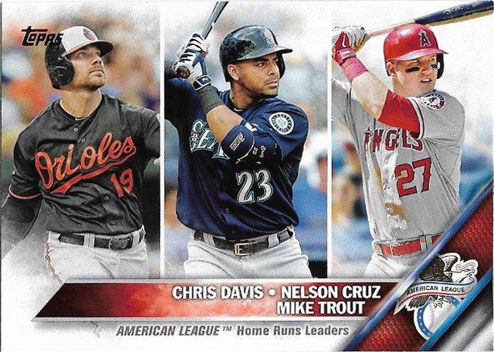 Chris Davis Nelson Cruz Mike Trout 2016 Topps 26 Baseball Card