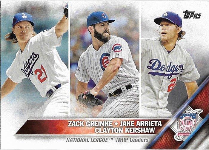 Zack Greinke-Jake Arrieta-Clayton Kershaw 2016 Topps #125 Baseball Card