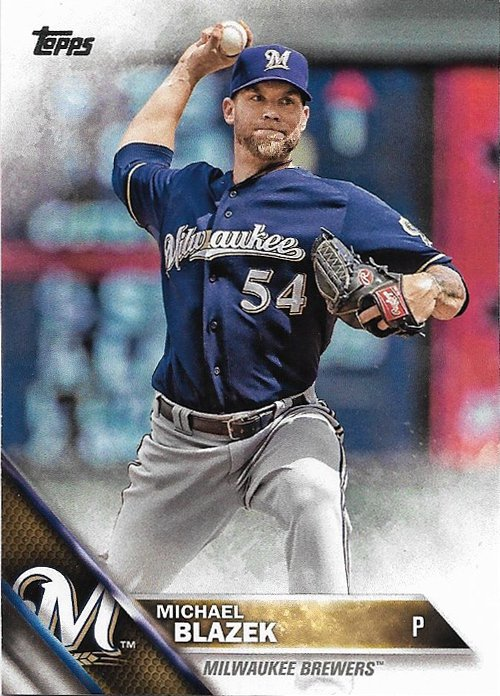 Michael Blazek 2016 Topps #380 Milwaukee Brewers Baseball Card