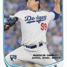 Hyun-Jin Ryu 2013 Topps Update Rookie Debut #US192 Los Angeles Dodgers Baseball Card