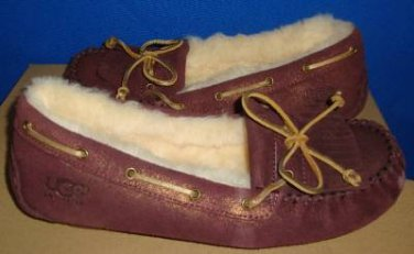 UGG Australia Women's MANDIE Luster Red Moccasin w Metallic Laces Size US 7 NEW