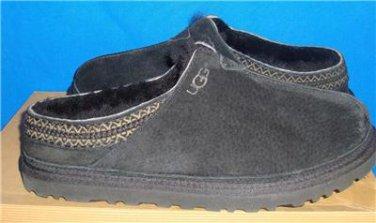UGG Australia NEUMAN Men's Black Suede Sheepskin Slippers Size US 9 NEW #3234