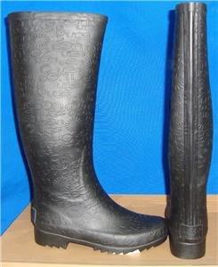 UGG Australia WILSHIRE LOGO Black Tall Women's Rain Boots Size US 5 #3386 NEW