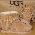 UGG Australia Chestnut WYNONA Fringe Suede Ankle Boots Size US 7, EU 38 #1007984