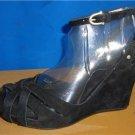 UGG Australia VIOLET Black Suede Ankle Strap Wedge Sandals Size US 7 NIB  #1772