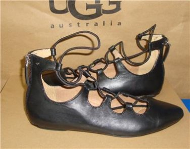 UGG Australia LORIANNA Black Leather Elastic Wrap Flats Size US 6 NIB #1015388