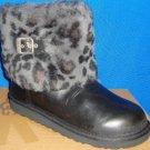 UGG Australia ELLEE Black Leopard Cuff Leather Boots Size 4Y fits Women Sz 6 NEW
