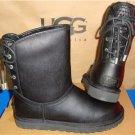 UGG Australia MARIANA Black Leather Sheepskin Corset Boots Size US 7 NEW 1006424