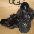 UGG Australia AIRA Black CRYSTALS Suede Sheepskin Slippers Size 6 NEW #1008358