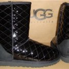 UGG Australia Black Classic Short Quilted Patent Leather Boots Sz 5 NIB 1012216