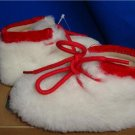 UGG Australia PUP White Red Sheepskin Booties Size 2/3 (S) NIB #1003874I