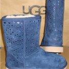 UGG Australia Navy Classic Short Flora Perf Boots Size US 7, EU 38 NIB #1010287