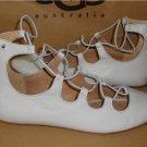 UGG Australia LORIANNA Light Gray Leather Elastic Wrap Flats Size 10 NIB 1015388