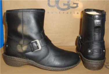 UGG Australia BRYCE Black Leather Buckle Ankle Boots Size US 7 NIB # 1009177