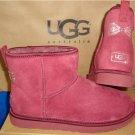 UGG Australia Oxblood Classic Mini Swarovski Crystal Bow Boots Size 11 #1006749