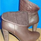 UGG Australia Dandylion Tres Brown Leather Knit Ankle Boots Size 8 NIB 1008755