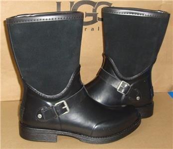UGG Australia SIVADA Black Rubber Suede Rain Boots Size US 7, EU 38 NIB #1014457