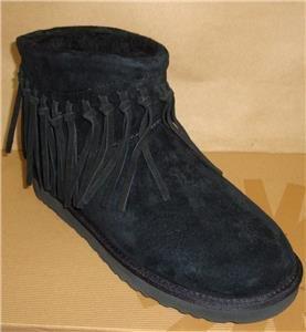 UGG Australia WYNONA Fringe Black Suede Ankle Boots Size US 7, EU 38 NIB 1007984