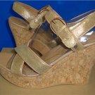 UGG Australia JAZMINE Metallic Chestnut Gold Wedge Sandals Size 9 NIB #1008355