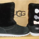 UGG Australia Black MALENA Multicolor Triple Bow Sheepskin Cuff Boots Size 6Y